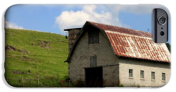 Red Roofed Barn iPhone Cases - Faded Generations iPhone Case by Karen Wiles