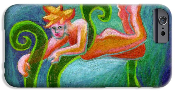 Angel Blues iPhone Cases - Faerie With Blades Of Grass iPhone Case by Genevieve Esson