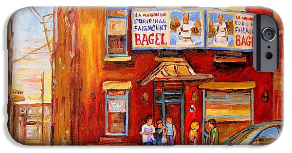 Hockey Paintings iPhone Cases - Fairmount Bagel Montreal Street Scene Painting iPhone Case by Carole Spandau