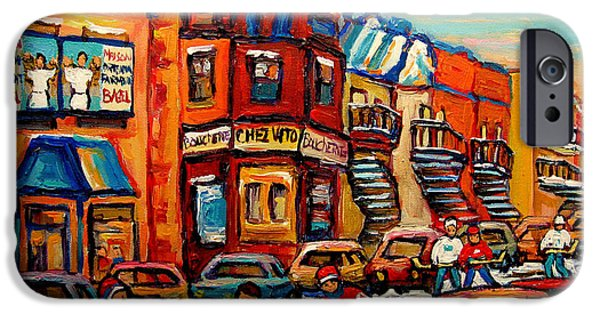 Montreal Storefronts Paintings iPhone Cases - Fairmount Bagel With Hockey iPhone Case by Carole Spandau