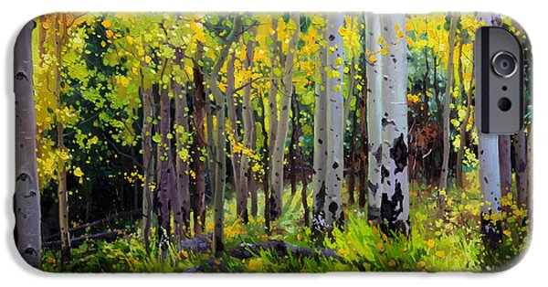 Snow iPhone Cases - Fall Aspen Forest iPhone Case by Gary Kim
