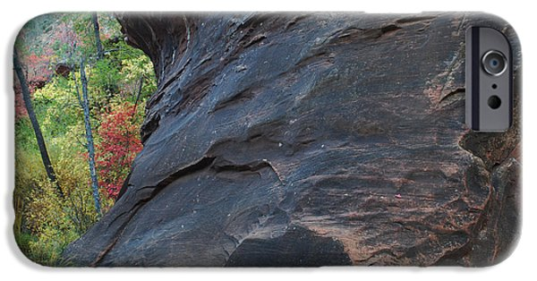 West Fork iPhone Cases - Fall Colors Peek Around Mountain Horizontal Number 1 iPhone Case by Heather Kirk
