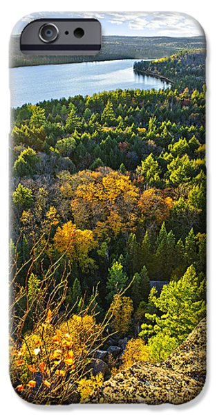 Forest iPhone Cases - Fall forest and lake top view iPhone Case by Elena Elisseeva