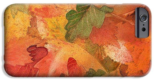 Maple Season Paintings iPhone Cases - Fall Impressions II iPhone Case by Irina Sztukowski