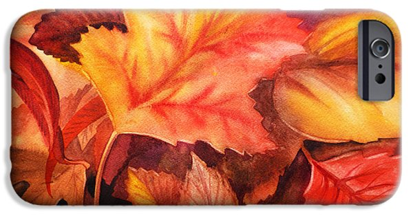 Cold Weather iPhone Cases - Fall Leaves iPhone Case by Irina Sztukowski
