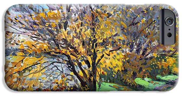 Autumn Landscape iPhone Cases - Fall of Leaves iPhone Case by Ylli Haruni