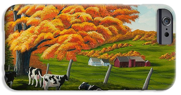 Change Paintings iPhone Cases - Fall on the Farm iPhone Case by Charlotte Blanchard