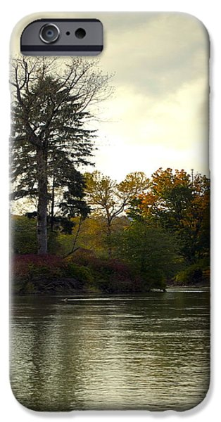 Fall Scenes iPhone Cases - Fall on the Snohomish River iPhone Case by Gwyn Newcombe