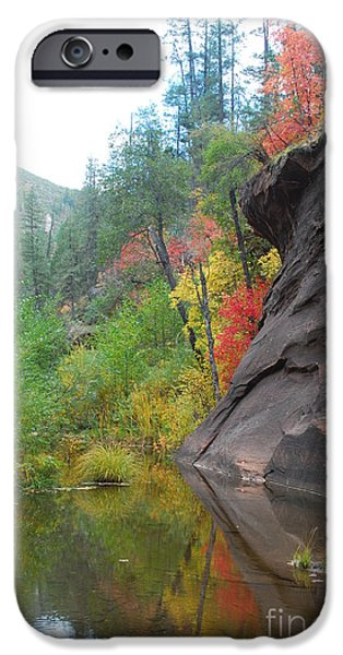 Sedona iPhone Cases - Fall Peeks from behind the Rocks iPhone Case by Heather Kirk