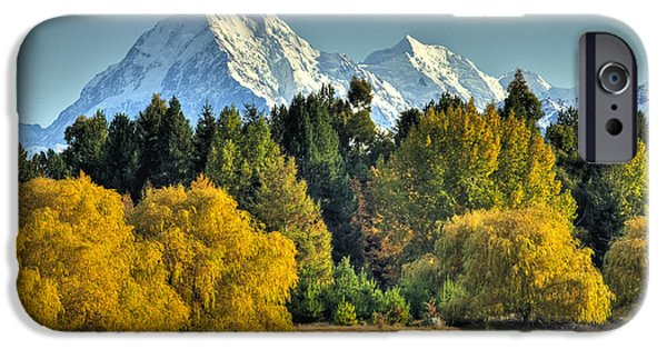 Willow Lake iPhone Cases - Fall Willow And Cottonwoods At Lake iPhone Case by Colin Monteath