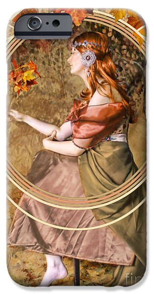 Painter Digital Art iPhone Cases - Falling Leaves iPhone Case by John Edwards