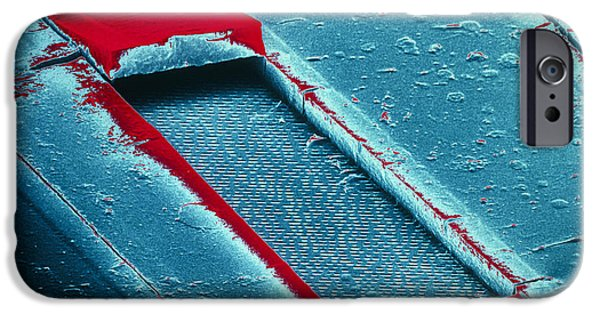 Disc iPhone Cases - False-col Sem Of Cracked Surface Of Compact Disc iPhone Case by Dr Jeremy Burgess.