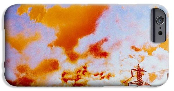 False Power iPhone Cases - False-colour Photograph Of Ferrybridge. iPhone Case by Dr Jeremy Burgess