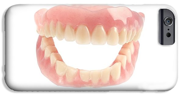 Cut-outs iPhone Cases - False Teeth iPhone Case by