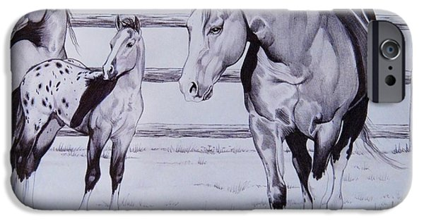 Drawing Of A Horse iPhone Cases - Family iPhone Case by Cheryl Poland