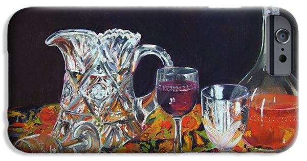 Wine Bottles Pastels iPhone Cases - Family Ties iPhone Case by Marie-Claire Dole
