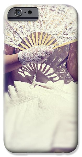 Young Photographs iPhone Cases - Fan And Lace Gloves iPhone Case by Joana Kruse