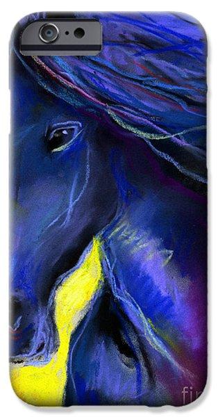 Vibrant Pastels iPhone Cases - Fantasy Friesian Horse painting print iPhone Case by Svetlana Novikova