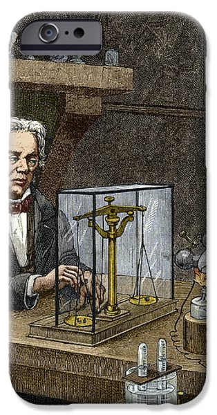 Faraday's Electrolysis Experiment, 1833 iPhone Case by Sheila Terry
