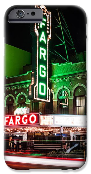 Venue iPhone Cases - Fargo ND Theatre at Night Picture iPhone Case by Paul Velgos
