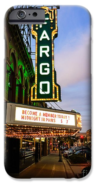 Venue iPhone Cases - Fargo Theater and Downtown Along Broadway Drive iPhone Case by Paul Velgos