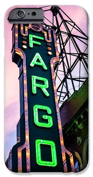 Venue iPhone Cases - Fargo Theater Sign at Dusk Photo iPhone Case by Paul Velgos