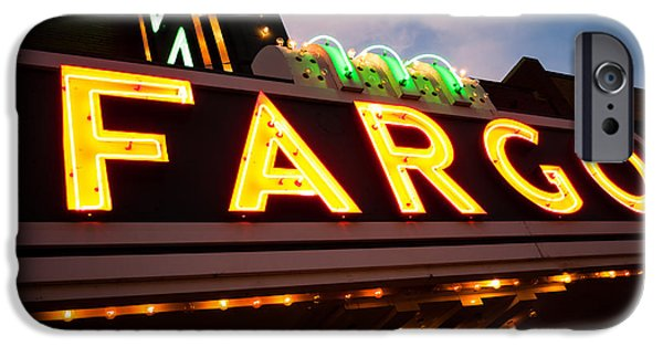 Venue iPhone Cases - Fargo Theatre Sign at Night Picture iPhone Case by Paul Velgos