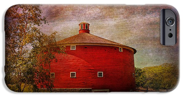 Vintage Painter iPhone Cases - Farm - Barn - Red round barn  iPhone Case by Mike Savad