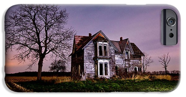 Haunted House iPhone Cases - Farm House at night iPhone Case by Cale Best