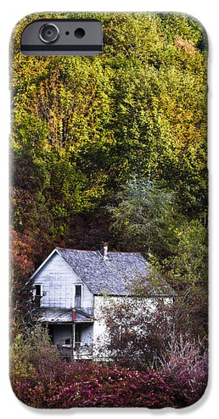 Fog Mist iPhone Cases - Farmhouse in Fall iPhone Case by Debra and Dave Vanderlaan