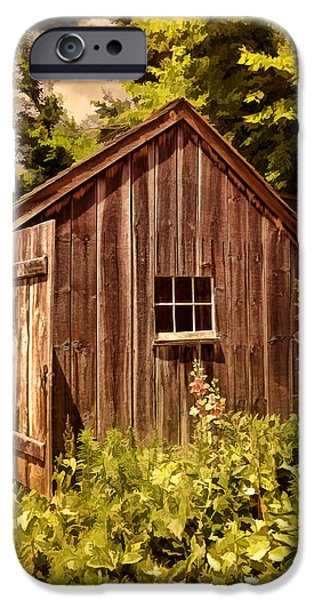 Horse And Buggy Photographs iPhone Cases - Farming Shed iPhone Case by Lourry Legarde