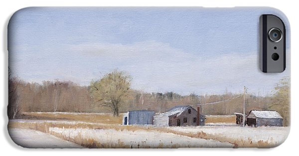 Concord. Winter iPhone Cases - Farmland in Winter  Concord Massachusetts iPhone Case by Mark Pimentel