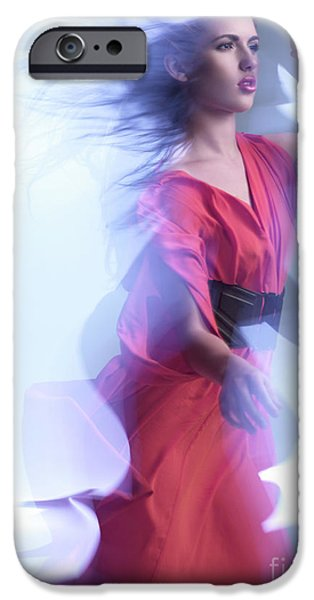 Fashion Photo of a Woman in Shining Blue Settings Wearing a Red  iPhone Case by Oleksiy Maksymenko