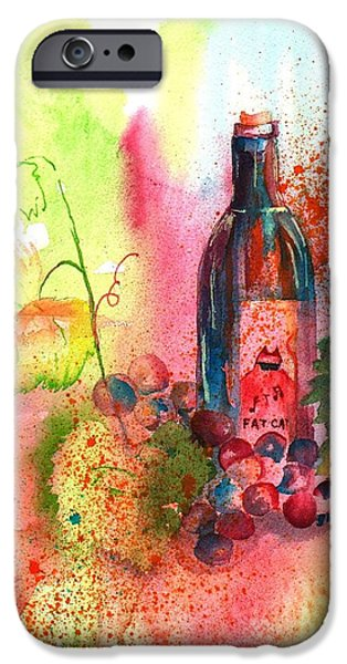 Glass Of Wine Paintings iPhone Cases - Fat Cat Wine iPhone Case by Sharon Mick