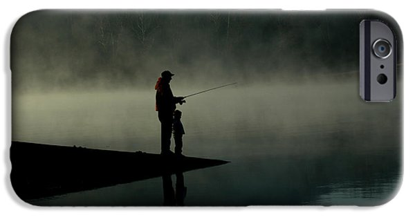 Morning iPhone Cases - Father and Son Fishing iPhone Case by Shawn Wood