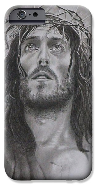 Jesus Drawings iPhone Cases - Father forgive them...  iPhone Case by Mike OConnell