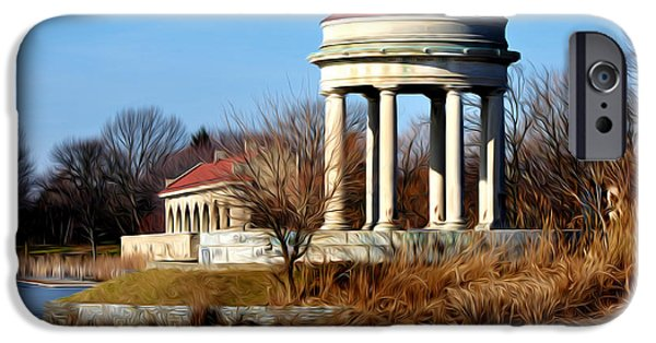 Franklin iPhone Cases - FDR Park Gazebo and Boathouse iPhone Case by Bill Cannon