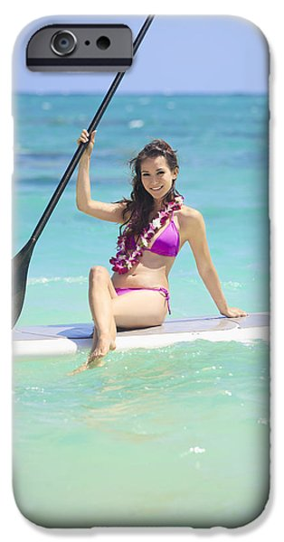 Youthful iPhone Cases - Female Paddler II iPhone Case by Tomas del Amo