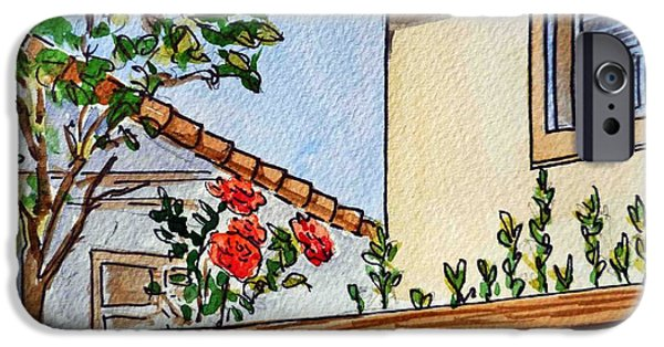 Rose iPhone Cases - Fence And Roses Sketchbook Project Down My Street iPhone Case by Irina Sztukowski