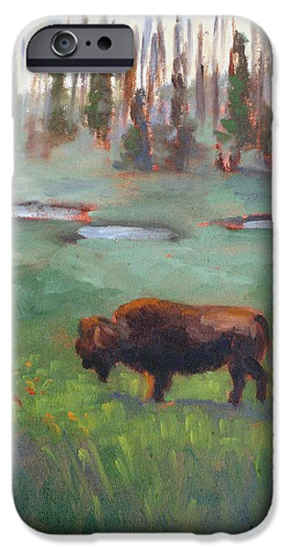 Park Scene Paintings iPhone Cases - Ferdinand Yellowstone NP iPhone Case by Karin  Leonard