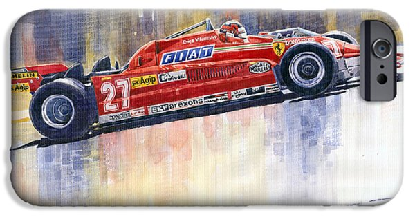 Racing iPhone Cases - Ferrari 126 CK Gilles Villeneueve Spanish GP 1981 iPhone Case by Yuriy  Shevchuk