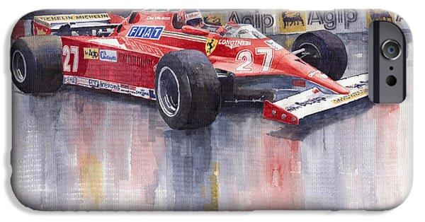 Watercolour Paintings iPhone Cases - Ferrari 126C 1981 Monte Carlo GP Gilles Villeneuve iPhone Case by Yuriy  Shevchuk