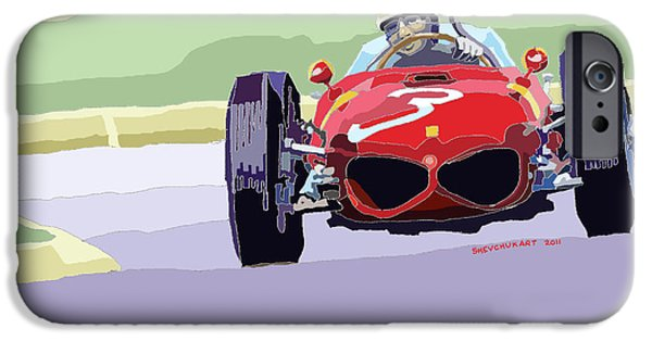 Classic Racing Car iPhone Cases - Ferrari 156 Dino 1962 Dutch GP iPhone Case by Yuriy  Shevchuk