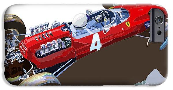 Cars Digital Art iPhone Cases - Ferrari 158 F1 1965 Dutch GP Lorenzo Bondini iPhone Case by Yuriy  Shevchuk