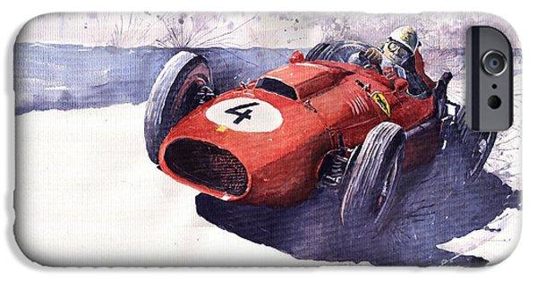 Vintage Sport Cars iPhone Cases - Ferrari 246 Mike Hawthorn iPhone Case by Yuriy  Shevchuk