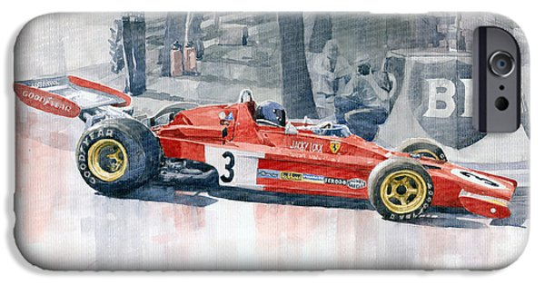 Ferrari Watercolor iPhone Cases - Ferrari 312 B3 Monaco GP 1973 Jacky Ickx iPhone Case by Yuriy  Shevchuk