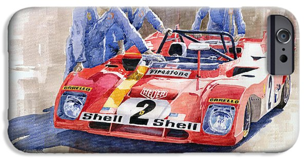 Sportcars iPhone Cases - Ferrari 312 PB 1972 Daytona 6-hour winning iPhone Case by Yuriy  Shevchuk