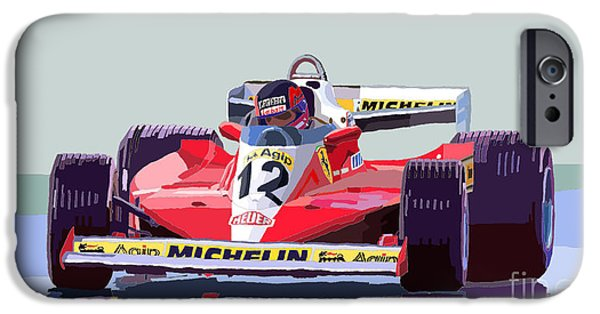Classic Racing Car iPhone Cases - Ferrari 312 T3 1978 canadian GP iPhone Case by Yuriy  Shevchuk