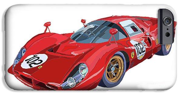 Racing iPhone Cases - Ferrari 412P 330 P4 1967 Le Mans iPhone Case by Yuriy  Shevchuk