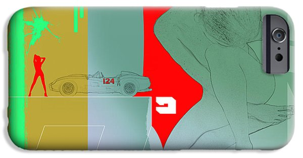 Seductive iPhone Cases - Ferrari and a girl iPhone Case by Naxart Studio